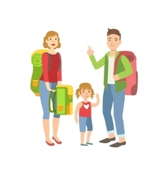 Family with backpacks preparing for hike vector