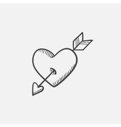 Heart pierced with arrow sketch icon vector