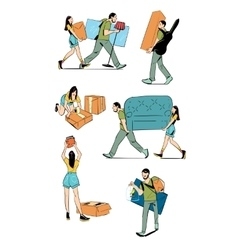 Moving home concept vector