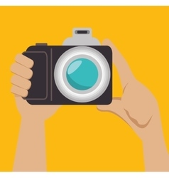 hand photographer photocamera icon design graphic vector image