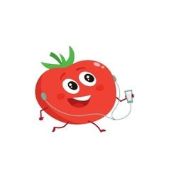 Ripe red running tomato with music player and vector