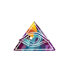 Abstract colorful triangle geometrical eye vector