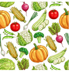 Vegetable and bean seamless pattern background vector