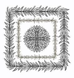 Ink hand drawn floral brushes for ornate frames vector