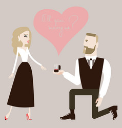 Man making a proposal to his woman vector