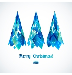 Three abstract 3d blue christmas tree vector