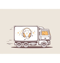 Truck free and fast delivering headphones vector