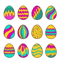 Set of painted easter eggs vector
