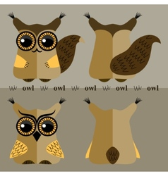 Cartoon squirrel and owl front and back vector