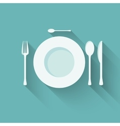 Flat plate and cutlery with long shadows vector