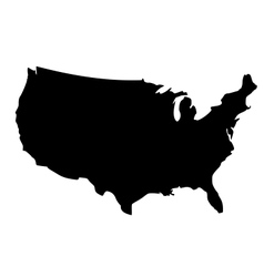 Black silhouette map of united states of america vector
