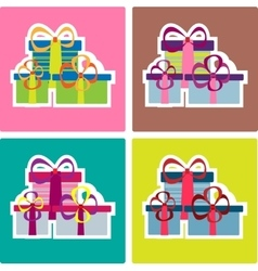 Colorful christmas striped gifts set vector