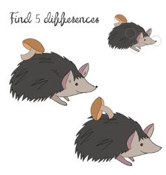 Find differences kids layout for game hedgehog vector