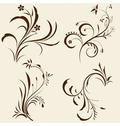 Decorative floral ornaments vector