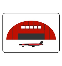 Hangar icon with plane in the frame vector