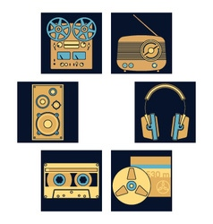 Dark blue music icons vector