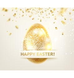 Easter egg with curves of ribbon confetti vector