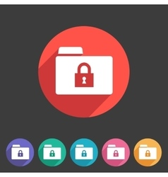 Secure locked folder icon flat web sign symbol vector