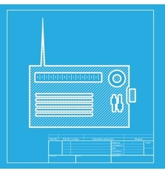 Radio sign  white section of icon on vector