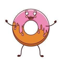 Avatar donut with medium pink glazed vector