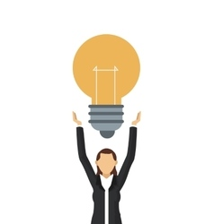 business woman with lightbulb icon vector image
