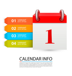 calendar info one day on the white background vector image