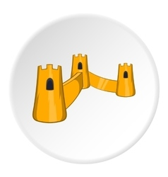 Castle with three towers icon cartoon style vector