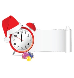 Christmas clock with tearing paper color vector