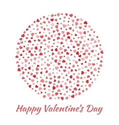 Circle red hearts valentines day card background vector