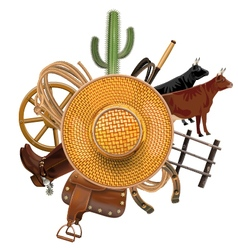 Cowboy Ranch Concept with Straw Hat vector image vector image