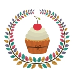 crown of leaves with cupcake with cream and cherry vector image