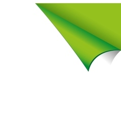Curled white paper corner with green background vector
