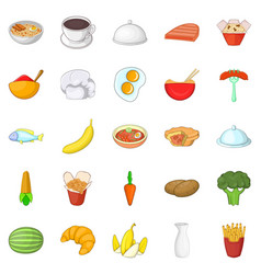 Dinnerware icons set cartoon style vector