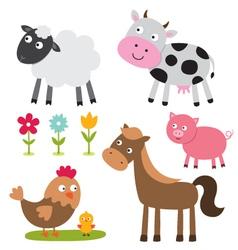 farm animals set vector image vector image