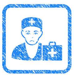 First-aid doctor framed stamp vector