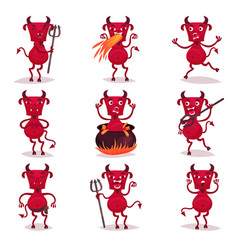 Funny red devils with horns and tails set demon vector