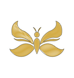 Golden butterfly decoration animal design vector