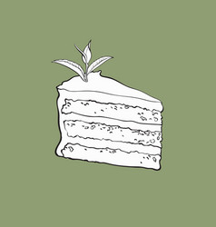 Hand drawn piece of matcha tea layered cake vector
