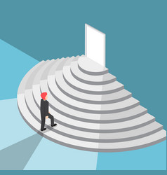 isometric businessman walking up staircase to the vector image