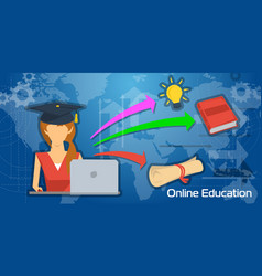 long background online education vector image vector image