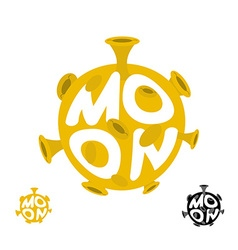 Moon logo emblem with yellow planet vector