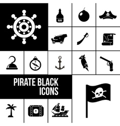 Pirate icons black set vector
