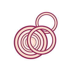 Red onion slices vector