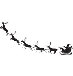 Santa claus riding on a reindeer sleigh vector