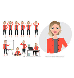 Set of emotions for business woman vector