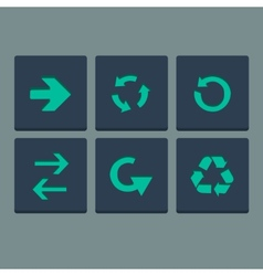 Simple green stamp flat arrow icons set Web vector image