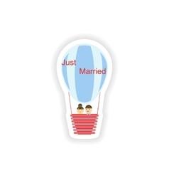 Stylish paper sticker on white background bride vector