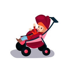 sweet litlte kid sitting in a modern baby stroller vector image vector image