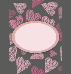 Template for postcardinvitation with hearts vector