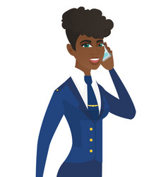 Young african stewardess talking on a mobile phone vector